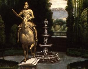 Anónimo Madrileño, h. 1634. Vista de los jardines de la Casa de Campo (detalle).